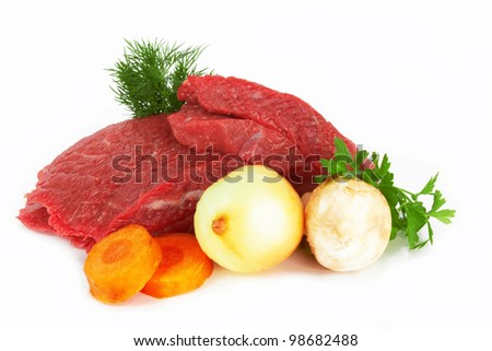 raw meat isolated on white - stock photo
