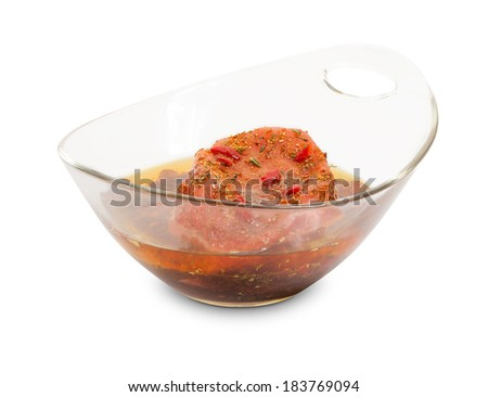 Raw meat isolated on white with spices  - stock photo