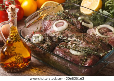 Raw meat marinated in green herb close up in a bowl and ingredients on the table. horizontal
