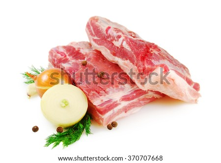 Raw Meat. Pork belly with dill, onion and tomato isolated on white background - stock photo