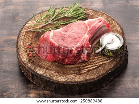 Raw meat Ribeye steak entrecote - stock photo