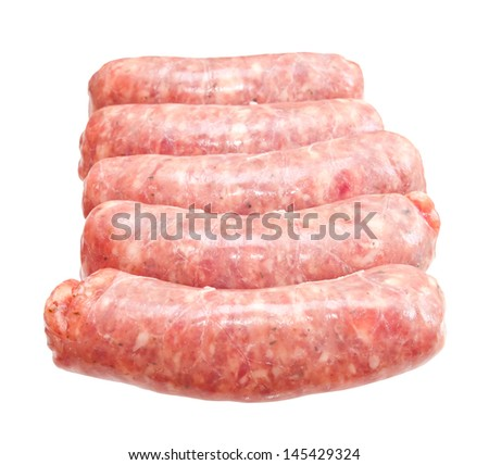 Raw meat sausages isolated on white background - stock photo