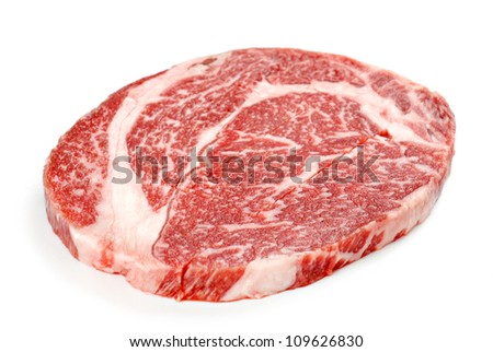 Raw meat slice isolated on white background - stock photo