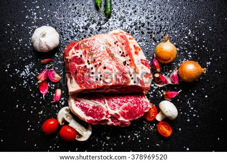 raw meat with spices - stock photo