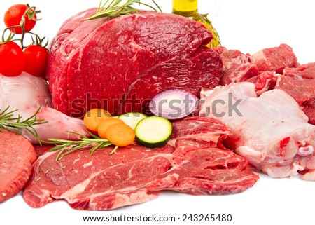 raw mix  meat with some vegetables - stock photo