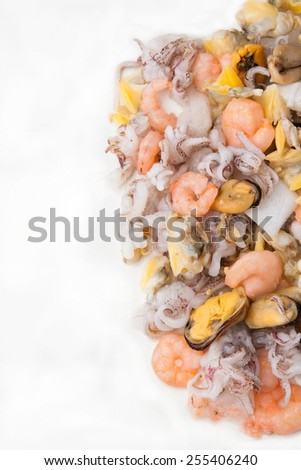 Raw Mixed seafood isolated on white background - stock photo