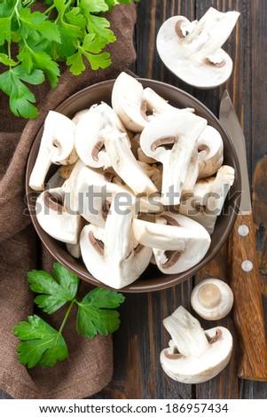 Raw mushrooms - stock photo