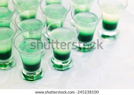 Raw of shot drinks - stock photo