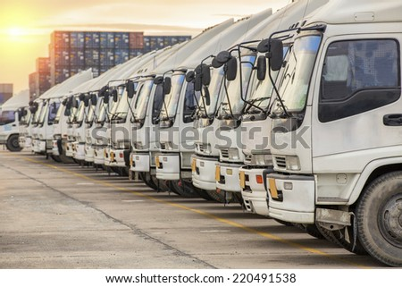 Raw of Truck in container depot - stock photo