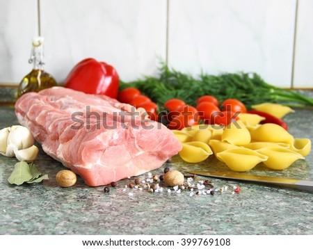 Raw Organic Boneless Pork Chops Ready to Cook - stock photo