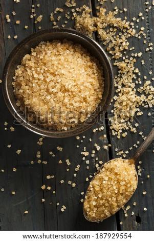Raw Organic Cane Sugar in a Bowl - stock photo