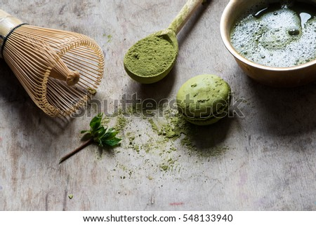 Raw Organic Green Matcha Tea in a Bowl/toned photo