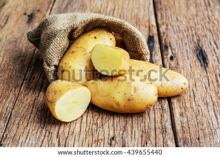Raw organic potatoes in the sack on wood planks background. - stock photo