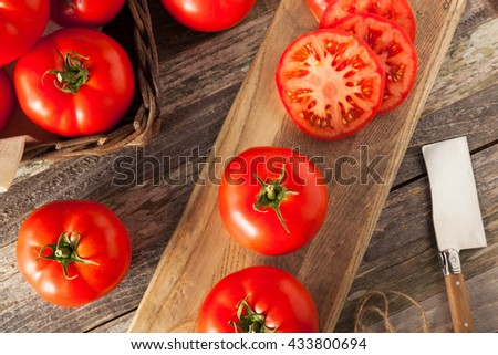 Raw Organic Red Beefsteak Tomatoes Ready for Cooking - stock photo