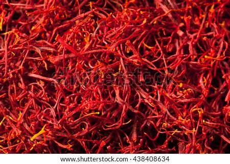 Raw Organic Red Saffron Spice in a Bowl - stock photo