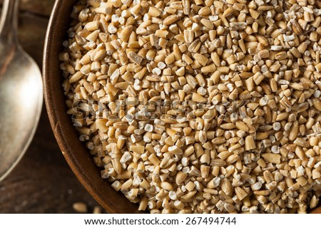 Raw Organic Steel Cut Oats in a Bowl - stock photo