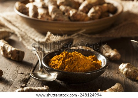 Raw Organic Turmeric Spice in a Bowl - stock photo