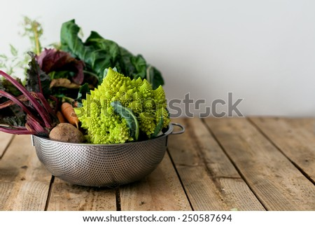 raw organic vegetals on a wooden table - stock photo