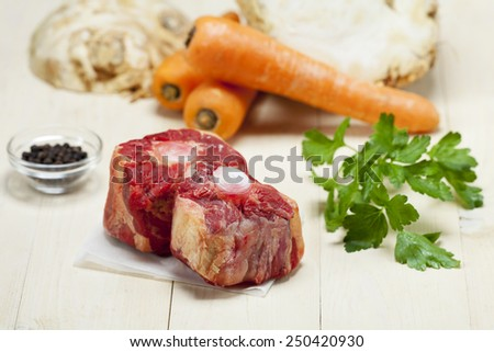 raw ox tail with ingredients  - stock photo