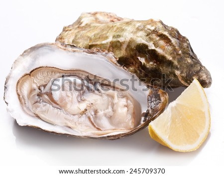 Raw oyster and lemon isolated on a white background. - stock photo