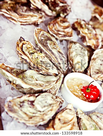 Raw oyster served in ice with sauce - stock photo