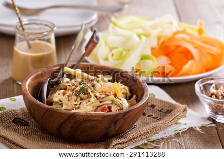 Raw pad thai salad with vegetable pasta - stock photo