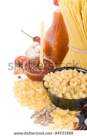 raw pasta and food ingredient isolated on white background - stock photo