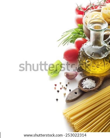 Raw Pasta with ingredients isolated on white background - stock photo