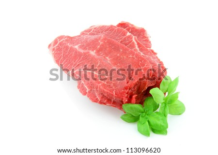 Raw piece of beef on a white background. - stock photo