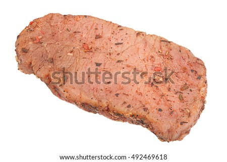 Raw pig meat fillet isolated on white