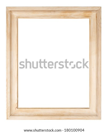 Raw pine picture frame isolated with clipping path. - stock photo