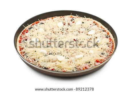 Raw pizza in a baking dish isolated on white background - stock photo