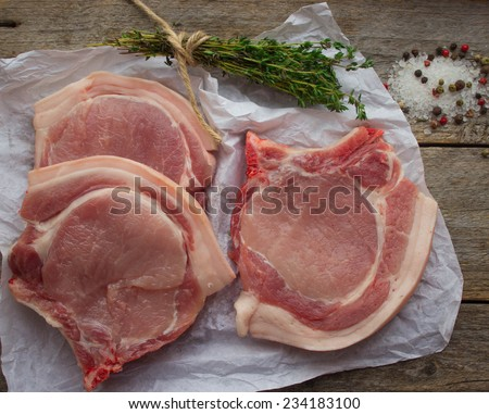 raw pork chops and spices on wooden table