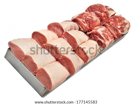 raw pork in the store