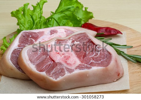 Raw Pork knee steack - ready for cooking