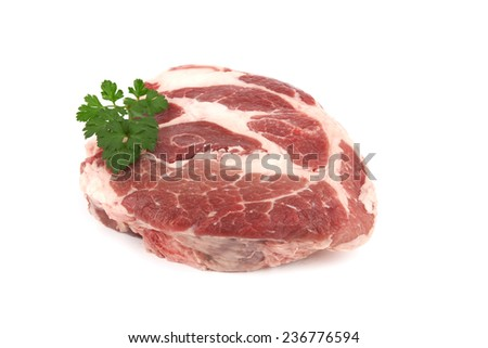 Raw pork meat on a white background - stock photo
