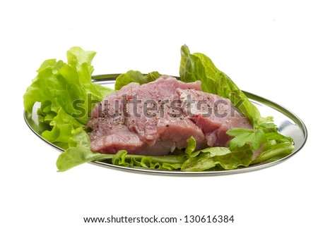 Raw pork meat with herbs and spices - stock photo