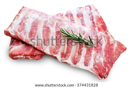Raw  Pork ribs with a rosemary isolated on white - stock photo