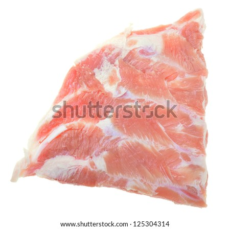 Raw pork spareribs isolated on white background