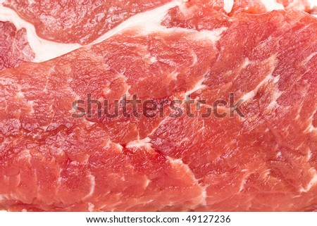 Raw pork steak meat close up surface top view  - stock photo