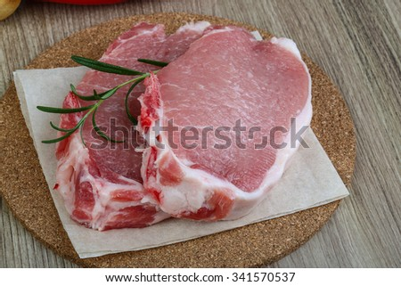 Raw pork steak with rosemary ready for cooking