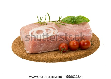 Raw pork with onion, basil and rosemary isolated - stock photo