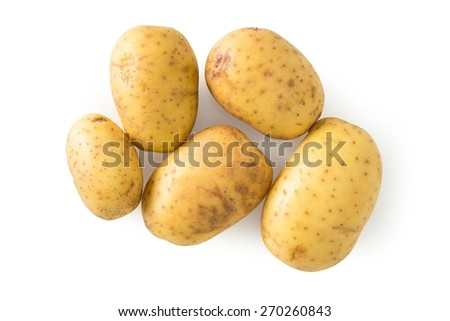 Raw potato isolated on white, with clipping path