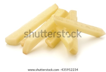 Raw Potato sliced strips prepared for French fries isolated on white background - stock photo