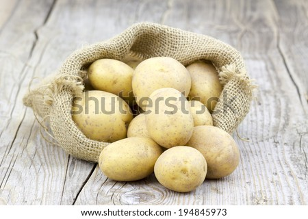 Raw potatoes in burlap bag on wooden background