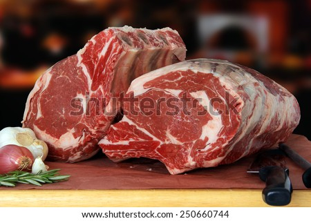 Raw prime rib beef roast in a restaurant.  - stock photo