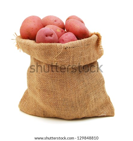 Raw red potatoes in burlap bag isolated on white background - stock photo
