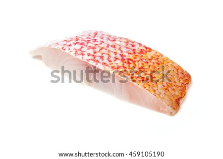 Raw Red Snapper fish fillet isolated on a white studio background.