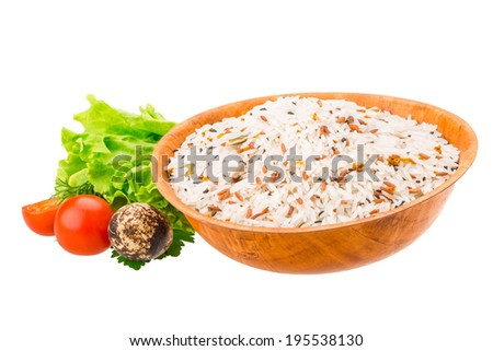 Raw rice mix with vegetables - stock photo