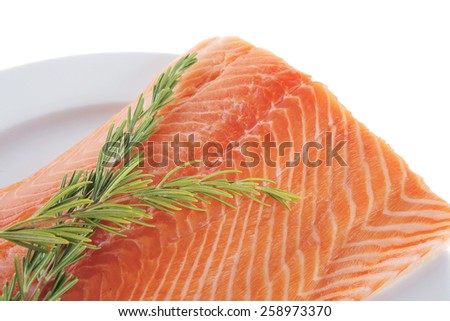 raw salmon fillet isolated on white with rosemary - stock photo